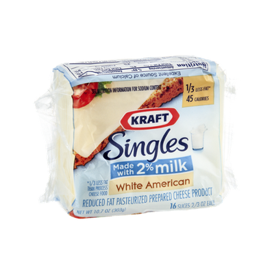 Kraft Singles Reduced Fat Cheese White American - 16 CT