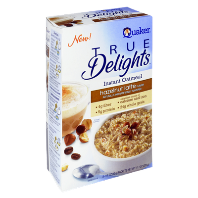 Quaker® True Delights Instant Oatmeal Hazelnut Latte Flavor Packets