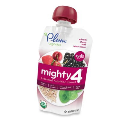 Plum Organics Tots Mighty 4 Spinach, Cherry, Oats, Black Beans Pouch - 4 Ounce