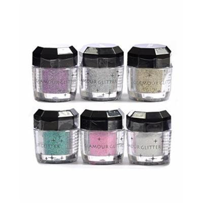 Glomour Glitter For Makeup Eye Shadow,Face Nails 6 Pcs