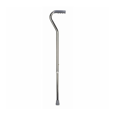 Mabis Briggs Healthcare Deluxe Adjustable Aluminum Cane with Offset Vinyl Grip in Silver