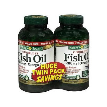Nature's Bounty Odorless Fish Oil 1200 mg Dietary Supplement Softgels 200 Each