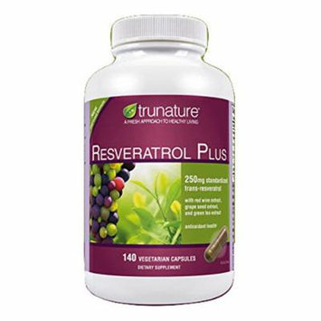 TruNature Resveratrol Plus - 250 mg of Resveratrol Plus 50 mg each of Red Wine Extract, Grape Seed Extract and Green Tea Extract - 140 Vegetarian Capsules