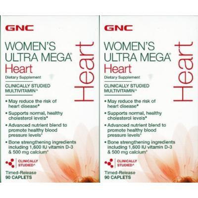 GNC Women's Ultra Mega Heart Multivitamin --2 Bottles each of 90 Caplets