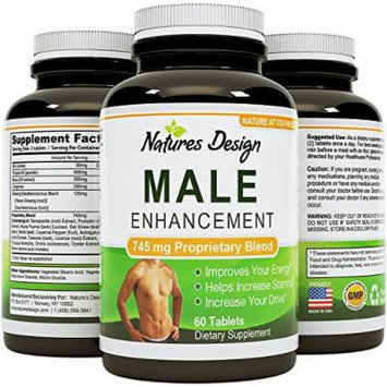 Natural Male Enhancement Supplement - 745 MG Potent and High Quality Tablets - Pure Maca Root, L-Arginine & Tongkat Ali Powder - Guaranteed By Natures Design