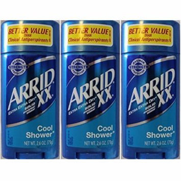 Arrid XX Extra Extra Dry Maximum Strength Antiperspirant Deodorant Solid, Cool Shower, 2.6-Ounce Sticks (Pack of 3)