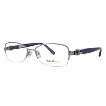 Salvatore Ferragamo Rx Designer Reading Glass Frame 2101 in Silver-Blue ; Frame Only