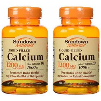 Sundown Naturals Calcium 1200 Plus D Liquid Filled Softgels, 60 Count (Pack of 2) Total 120 softgels