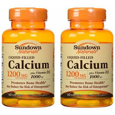 Sundown Naturals Calcium 1200 Plus D Liquid Filled Softgels, 60 Count (Pack of 2) Total 120 softgels