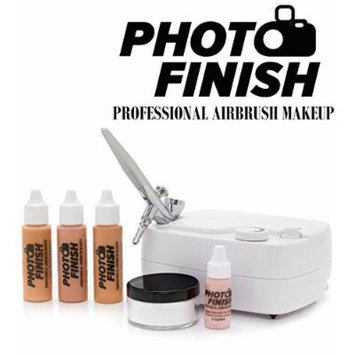 Photo Finish Professional Airbrush Cosmetic Makeup System Kit / Chose Shades- Light Medium or Tan 3pc Foundation Set with Blush and Silica Finishing Powder- Chose Matte or Luminous Finish Kit (Tan- Luminous Finish)