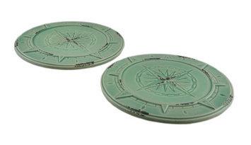 Zeckos Set of 2 Green Vintage Finish Compass Rose Ceramic Candle Plates