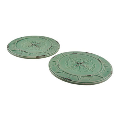Zeckos Set of 2 Green Vintage Finish Compass Rose Ceramic Candle Plates