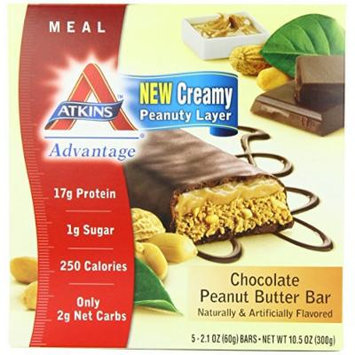 Atkins Advantage Bars, Chocolate Peanut Butter, 2.1-Ounce Bars 5 count, (Pack of 4)