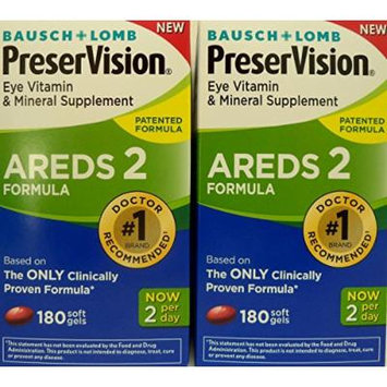 Bausch and Lomb PreserVision AREDS 2 Formula Eye Vitamin and Mineral Supplement - 2 Bottles, 180 Softgels Each