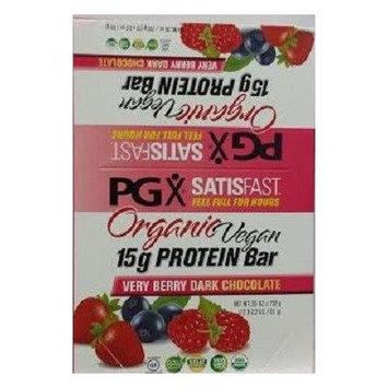 PGX Satisfast Vegan Protein Bars- Very Berry Dark Chocolate-Box Natural Factors 12 Bars 1 Box