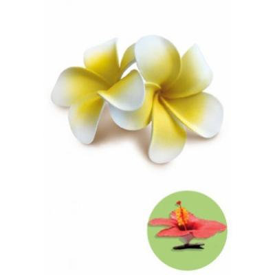 Double Plumeria Clip Foam Flowers - Yellow w/ White Edges