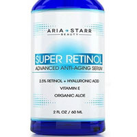Aria Starr 2.5% Retinol Serum - 2 FL OZ - With Hyaluronic Acid, Vitamin E, Aloe, Jojoba Oil, Green Tea - Best Natural Skin Care Product For Anti Aging Anti Wrinkle, Acne Face, Neck & Eye Treatment