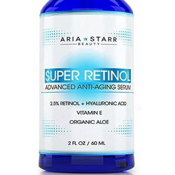 Aria Starr 2.5% Retinol Serum - 2 FL OZ - With Hyaluronic Acid, Vitamin E, Aloe, Jojoba Oil, Green Tea - Best Natural Skin Care Product For Anti Aging Anti Wrinkle, Acne Face, Neck & Eye Treatment