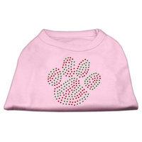 Mirage Pet Products 522517 XLLPK Holiday Paw Rhinestone Shirts Light Pink XL 16