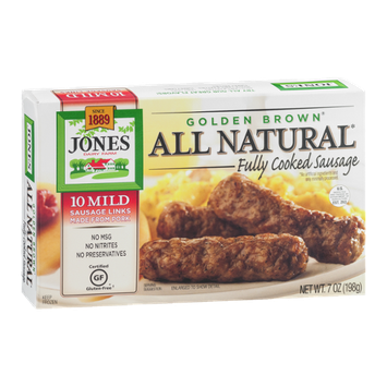 Jones All Natural Golden Brown Cooked Sausage Mild - 10 CT