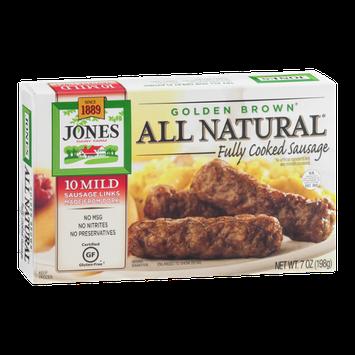 Jones All Natural Golden Brown Cooked Sausage Mild - 10 CT