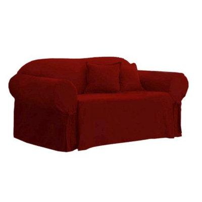 Sure Fit Cotton Duck Sofa Slipcover - Claret
