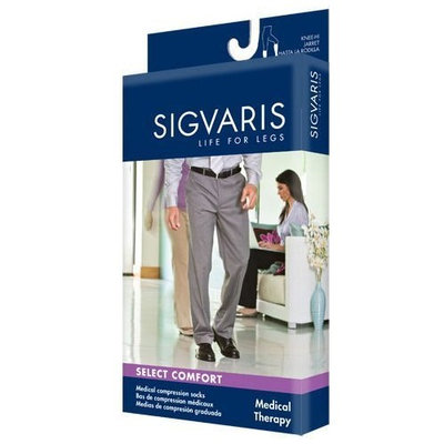 Sigvaris 860 Select Comfort 20-30 mmHg Men's Closed Toe Knee High Sock with Silicone Grip-Top Size: S3, Color: Black 99
