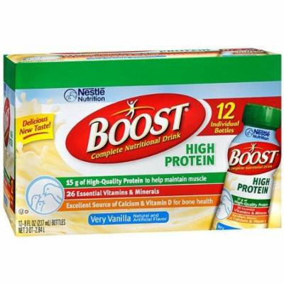 Boost High Protein Complete Nutritional Drink, 8 oz Bottles, Very Vanilla 12 ea