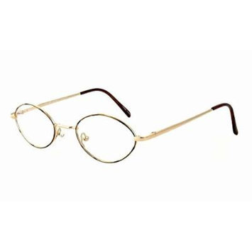 Calabria FL-65 Gold-Brown Reading Glasses ; DEMO LENS