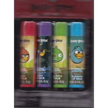 Angry Birds Lip Balm - 4 Flavors - Cherry, Grape, Green Apple and Blueberry