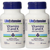 Life Extension Vitamins D and K with Sea-iodine,60 Capsules (2 Pack)