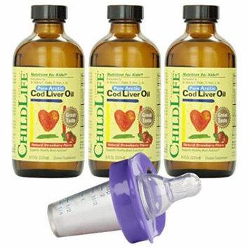 Child Life Cod Liver Oil, 8 Ounce - 3 Pack with Medicator Medicine Dispenser