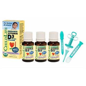 Child Life Organic Vitamin D3 Liquid 0.338 Fluid Ounce (10 ml) - 3 Pack with Medicine Dispenser Kit