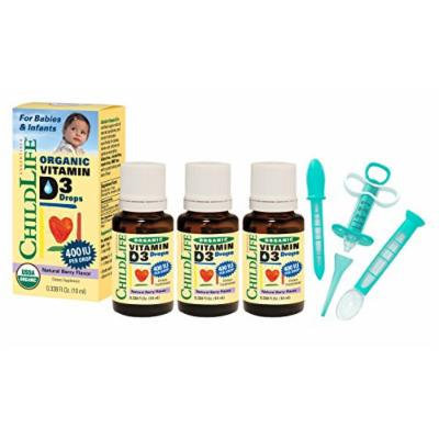 Child Life Organic Vitamin D3 Liquid 0.338 Fluid Ounce (10 ml) - 3 Pack with Medicine Dispenser Kit