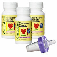 Child Life Toothpaste Tablets - 60 Tablets (500mg) (Pack of 3) with Medicator Medicine Dispenser