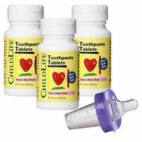 Child Life Toothpaste Tablets - 60 Tablets (500mg) (Pack of 3) with Medicator Medicine Dispenser