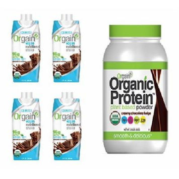 Orgain Vegan Chocolate Variety Pack , Includes: Vegan Orgain Chocolate Fudge Ready to Drink Meal Replacement 11 Oz Liquid [4 Pack] and Vegan Orgain Organic Protein Plant-based Powder, Chocolate Fudge 2.03 Pound