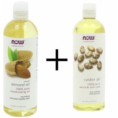 Bundle: Now Foods Almond Oil, 16 oz. PLUS Now Foods Castor Oil, 16 oz.