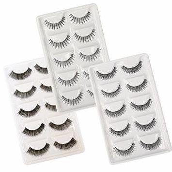 Winstonia 15 Pairs False Eyelashes Fake Lashes Fashion Makeup Cosmetic Set - Thick & Voluminous, Sexy Flirts, Stylish Criss-Cross with Glues