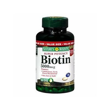 Nature's Bounty Biotin 5000 mcg Dietary Supplement Softgels, Value Size 150 ea