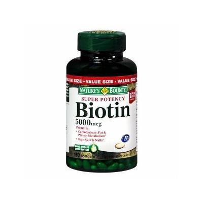Nature's Bounty Biotin 5000 mcg Dietary Supplement Softgels, Value Size 150 ea