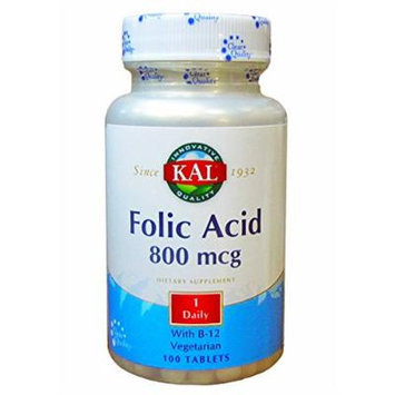 Kal Folic Acid 800 Mcg 1 Daily with B-12 Vegetarian 100 Tablets