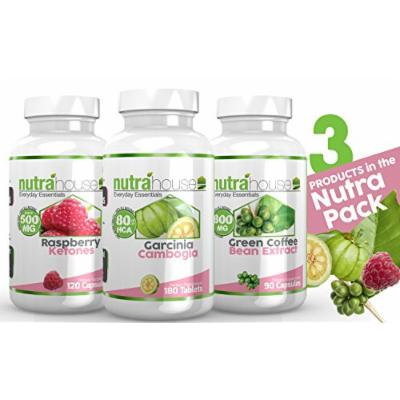 Garcinia Cambogia, Raspberry Ketones and Green Coffee Bean Extract - NutraPack. 2-Month Supply! All Natural Weight Loss: Garcnia Cambogia 80% HCA, Pure 500mg Raspberry Ketones + Pure 800mg Green Coffee Bean Exract at 50% Chlorogenic Acids. Burn Fat...