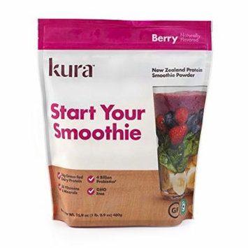 Kura Nutrition New Zealand grass-fed protein smoothie powder, Berry, 16.9 Ounce