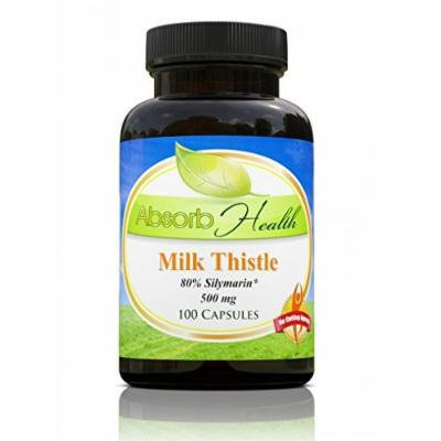 Milk Thistle Extract (80% Silymarin) , 500mg 100 Capsules , Powerful Liver Detox Supplement