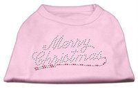 Mirage Pet Products 522507 XXXLLPK Merry Christmas Rhinestone Shirt Light Pink XXXL 20