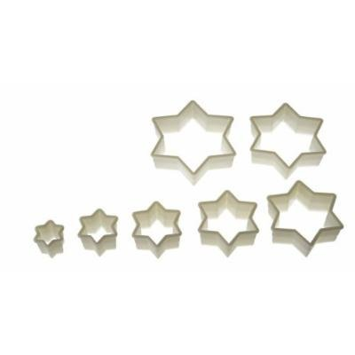 Silikomart Wonder Cakes Collection Nesting Smooth Nylon Dough Cutters, Star of David, Set of 7