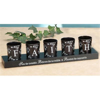 Unison Gifts MSA-716 14.5 In. Frosted Glass 5 Candleholder & Base - Faith Black