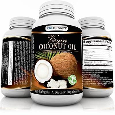 Organic Cold Pressed Virgin Coconut Oil Capsules by CKLBRANDS - 120 Softgels with 3000 mg per Serving - Made in USA - Non-GMO Unrefined MCT Oil Pills for Weight Loss, Healthy Skin, Hair Care, Thyroid - Bonus E-Book