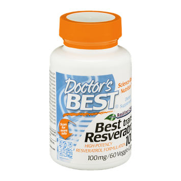 Doctor's BEST Best Trans-Resveratrol 100mg Dietary Supplement Veggie Caps - 60 CT